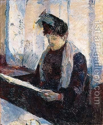 Femme Au Cafe by Toulouse-Lautrec - Reproduction Oil Painting