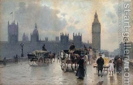 Westminster Bridge by Alberto Pisa - Reproduction Oil Painting