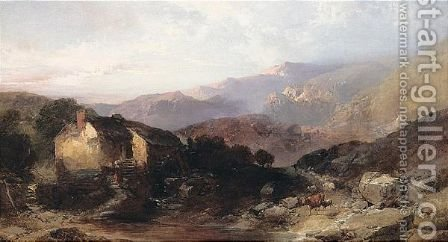 A View In North Wales With An Overshot Mill And Cattle And Sheep by Henry Bright - Reproduction Oil Painting