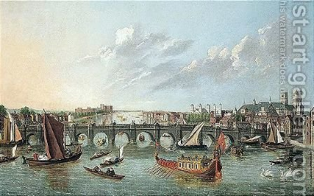 View Of The Thames With Westminster Bridge And Numerous Barges by (after) Samuel Scott - Reproduction Oil Painting