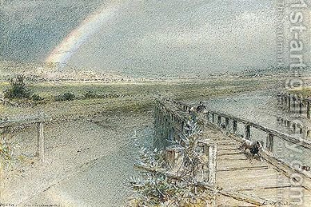 Arundel From Ford Railway Bridge by Albert Goodwin - Reproduction Oil Painting