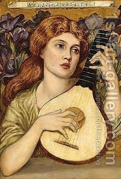 Lady with lute by (after) John Melhuish Strudwick - Reproduction Oil Painting