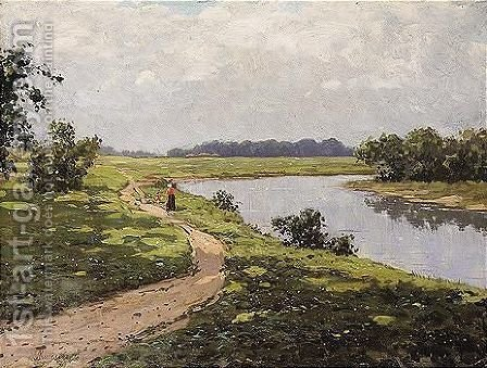 Walk by the river by Alexander Alexandrovich Kiselev - Reproduction Oil Painting