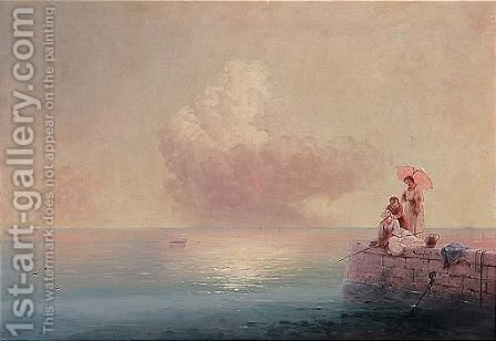 Elegant ladies fishing at the water's edge by Ivan Konstantinovich Aivazovsky - Reproduction Oil Painting