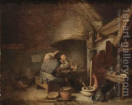 An Alchemist Near A Fireplace In His Studio by (after) Adriaen Jansz. Van Ostade - Reproduction Oil Painting