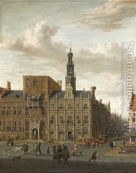Utrecht A View Of The City Hall On The Oude Gracht by Abraham Storck - Reproduction Oil Painting