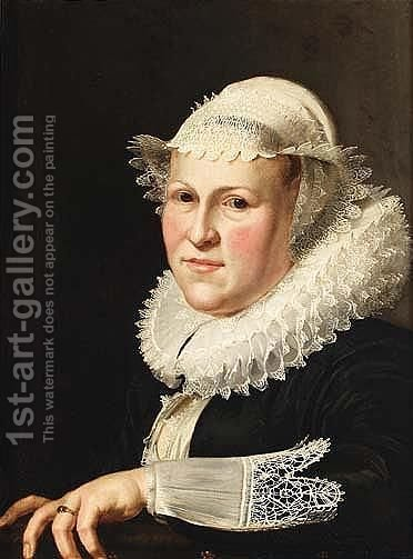 Headdress, Cuffs And Collar, Leaning With Her Left Arm On A Ledge by (after) Thomas De Keyser - Reproduction Oil Painting