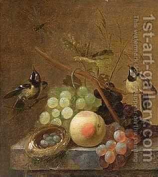 A Still Life Of Grapes, A Peach And A Dragonfly, Together With Blue Tits by (after) Johannes Hendrick Fredriks - Reproduction Oil Painting