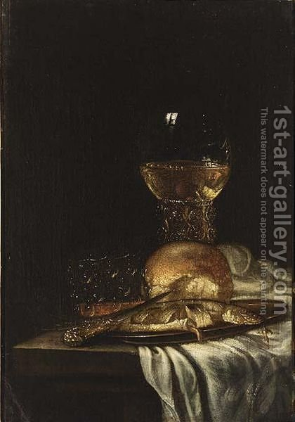 A Pewter Plate And A Knife by (after) Willem Van Aelst - Reproduction Oil Painting