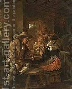 Peasants Drinking And Smoking At A Table In An Inn by (after) Egbert Jaspersz. Van, The Elder Heemskerck - Reproduction Oil Painting