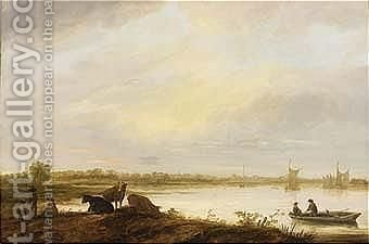 Three Boys Standing On The Land by (after) Aelbert Cuyp - Reproduction Oil Painting
