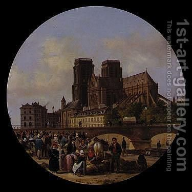 Paris, With A View Of Notre Dame by Guiseppe Canella - Reproduction Oil Painting