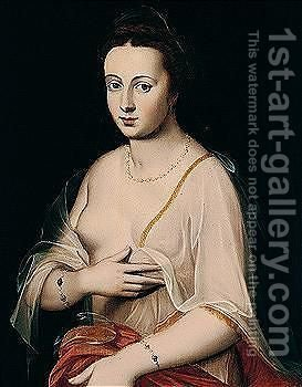 Portrait of a lady, said to be Diane of Poitiers by (after) Fontainebleau - Reproduction Oil Painting