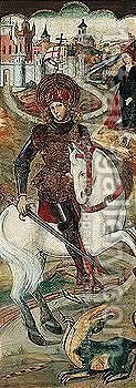 Saint George and the dragon 2 by (after) Jaume Huguet - Reproduction Oil Painting
