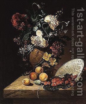 Sill life of flowers in a sculpted vase, strawberries in an upturned porcelain bowl by (after) Rachel Ruysch - Reproduction Oil Painting