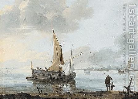 Dutch fishing vessels on an estuary by (after) Willem Van De, The Younger Velde - Reproduction Oil Painting