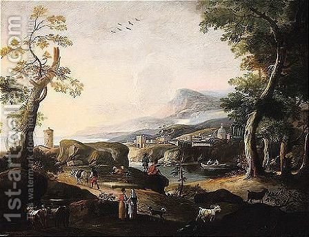 A river landscape with peasants and livestock in the foreground by (after) Marco Ricci - Reproduction Oil Painting