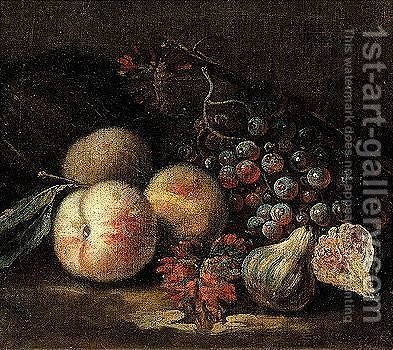 Still life of peaches, figs and grapes by (after) Franz Werner Von Tamm - Reproduction Oil Painting