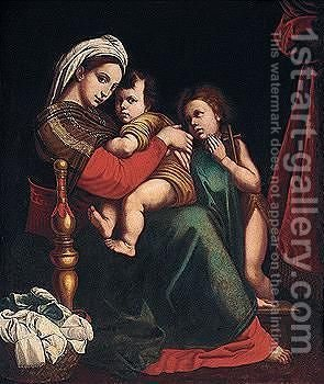Madonna Della Sedia 2 by (after) Raphael (Raffaello Sanzio of Urbino) - Reproduction Oil Painting
