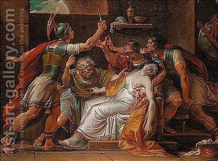 Brutus and Collatinus swearing revenge over the body of Lucretia by (after) Giuseppe Cades - Reproduction Oil Painting