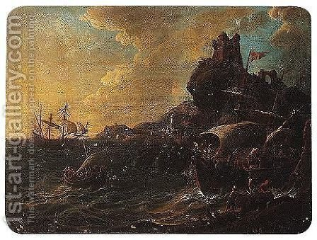 A stormy coastal scene with a shipwreck by (after) Claude-Joseph Vernet - Reproduction Oil Painting