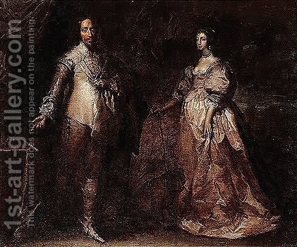 Portrait of king charles I and Queen Henrietta Maria by (after) Dyck, Sir Anthony van - Reproduction Oil Painting
