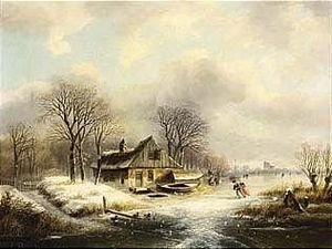 A Winter Landscape With Figures On A Frozen River