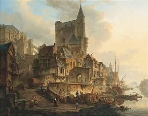 Reproduction oil paintings - Elias Pieter van Bommel - A Busy Townscene