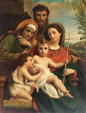 Francois-Joseph Navez reproductions - The Holy Family With Saint John The Baptist And Saint Elisabeth