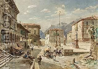 Upper Italien Town (1880) by Gustave Bauernfeind - Reproduction Oil Painting