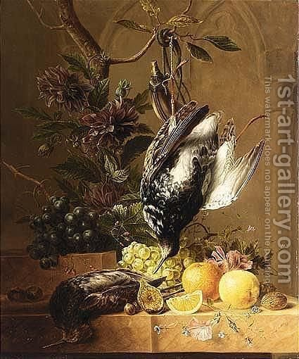 A Still Life Of Fruit, Flowers And Birds by Hendrik Reekers - Reproduction Oil Painting