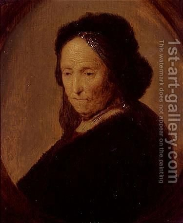 Portrait of an old woman, said to be Rembrandt' mother by (after) Gerrit Dou - Reproduction Oil Painting