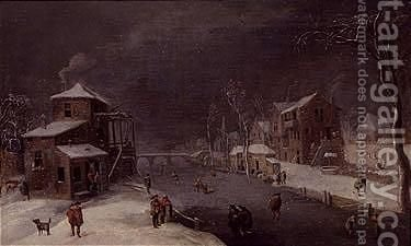 Winter landscape by (after) Daniel Van Heil - Reproduction Oil Painting