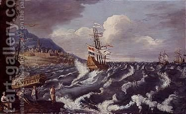 A ship tossed in heavy sea off a rocky coast with walled city by (after) Mattthieu Van Plattenberg - Reproduction Oil Painting