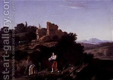 Washerwomen in a southern landscape by (after) Cornelis Van Poelenburgh - Reproduction Oil Painting