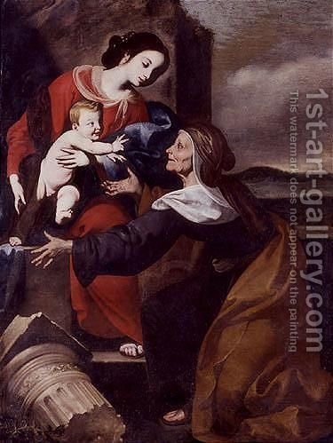 Madonna and child with Saint Elizabeth by Giuseppe Marullo - Reproduction Oil Painting