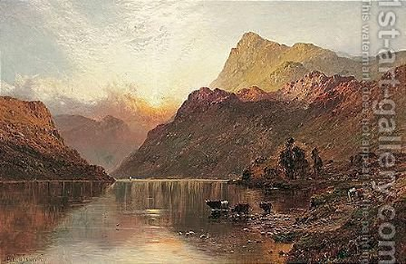 At Sunset Loch Awe N.B. by Alfred de Breanski - Reproduction Oil Painting