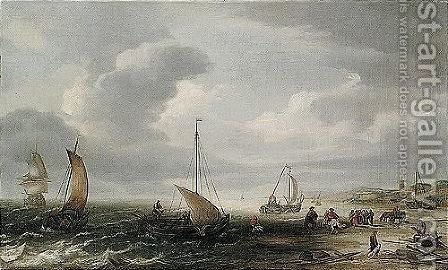 The Beech At Egmond An Zee With Fishermen Unloading Their Catch by Hans Goderis - Reproduction Oil Painting