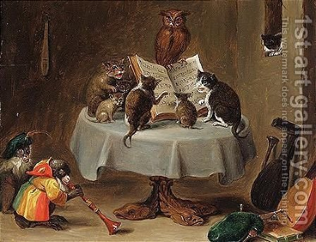 A Musical Concert With A Feline Choir And A Monkey Playing An Oboe by (after) Ferdinand Van Kessel - Reproduction Oil Painting