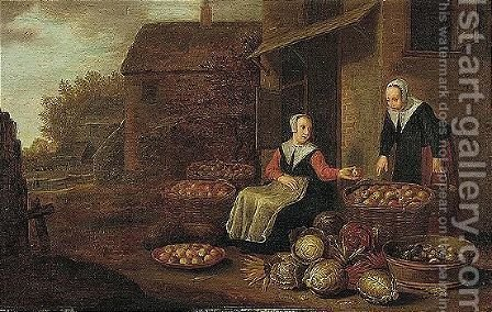 Town scene with a vegetable and fruit seller by (after) Floris Gerritsz. Van Schooten - Reproduction Oil Painting