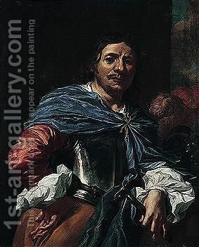 Portrait Of An Officer, Holding An Axe In One Hand by (after) Niccolo Renieri (see Regnier, Nicolas) - Reproduction Oil Painting
