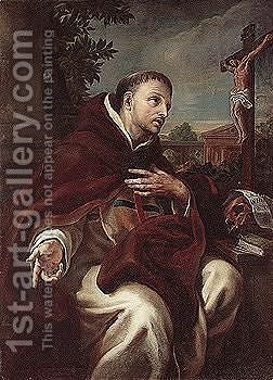 A dominican Saint, possibly Saint Thomas Aquinas by (after) Francesco Trevisani - Reproduction Oil Painting