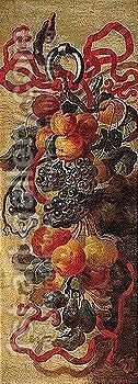 Still life of a garland of fruit suspended by a red ribbon by (after) Giovanni Paolo Castelli, Called Spadino - Reproduction Oil Painting