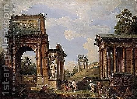 A Capriccio Of Roman Ruins And Monuments, Including The Arch Of Titus, The Farnese Flora, The Temples Of Saturn, Vespasian And Fortuna Virilis by Giovanni Paolo Panini - Reproduction Oil Painting