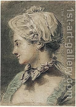 Study Of A Young Woman In Profile, Wearing A Cap, A Bow At Her Throat by (after) Etienne Aubry - Reproduction Oil Painting