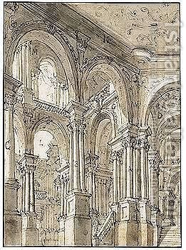 An Intricate Series Of Porticoes by (after) Giuseppe Galli Bibiena - Reproduction Oil Painting