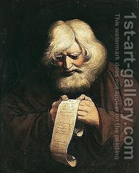 Old Man Reading A Ballad by (after) Sir Joshua Reynolds - Reproduction Oil Painting