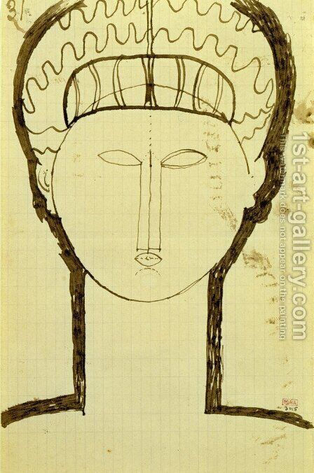 Taete et Epaules de face by Amedeo Modigliani - Reproduction Oil Painting