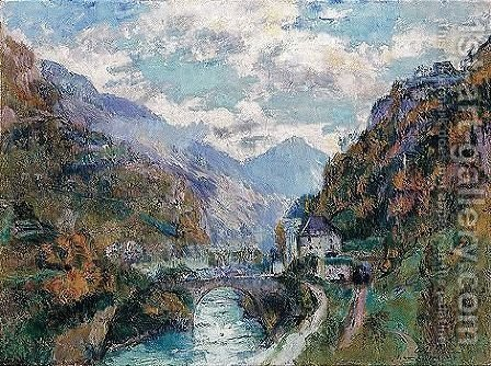 Le Rhone A saint-maurice, valais (Suisse) by Albert Lebourg - Reproduction Oil Painting