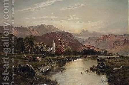 Valle Crucis Abbey, Vale Of Llangollen, North Wales by Alfred de Breanski - Reproduction Oil Painting